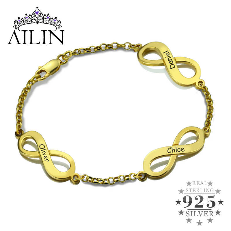 Gold Arabic Name Bracelet Personalized 18K Gold Plated Sterling Silver Custom Made with Any Names Gift For Women