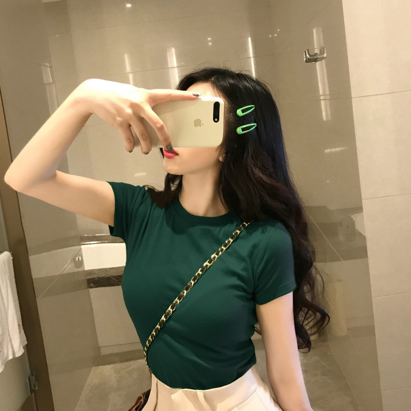 JFUNCY Fashion Solid Color Korean Slim Fit Women T Shirt 2020 Summer New Lady Tops Short Sleeve T-shirt Female Basic Tees