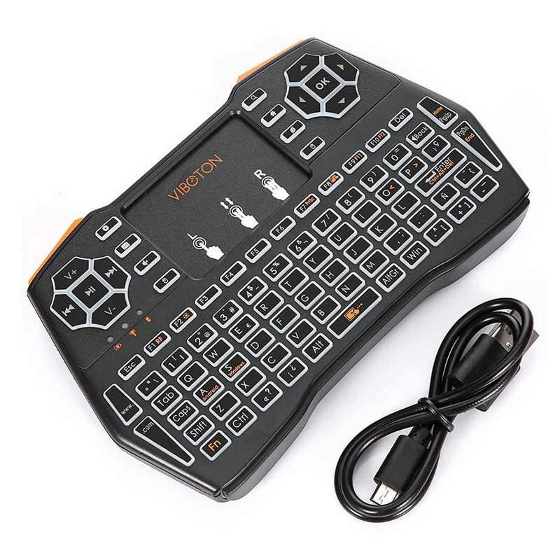 VIBOTON 2.4G اللاسلكية I8 زائد أحادية اللون الخلفية اسبانيا لوحة المفاتيح Presspad يطير ماوس هوائي الألعاب البسيطة لوحة المفاتيح ل ويندوز الروبوت