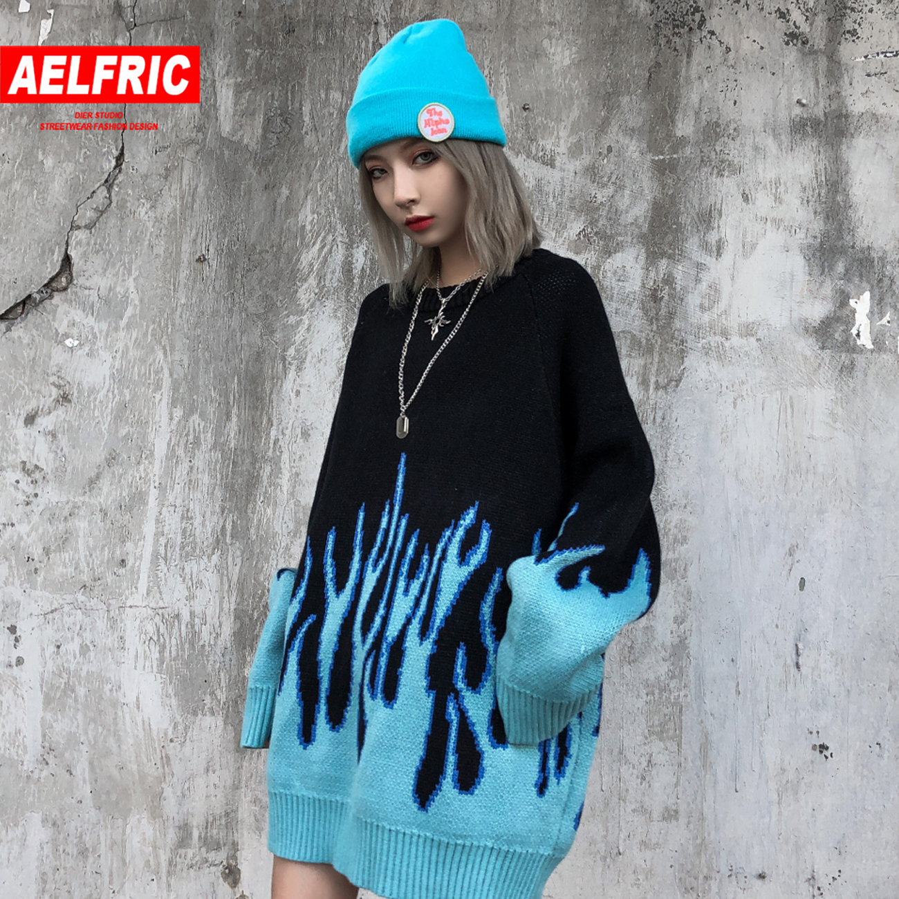 Aelfric Hip Hop Sweater Pullover Women Blue Fire Flame Knitted Sweater Harajuku Streetwear Tops Casual Couple Sweater Black