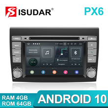 Isudar player multimídia automotivo, px6, android 10, fiat/bravo, 2007, 2008, 2009, 2010, 2011, 2012, dvd rádio gps automotivo, 4 gb de ram, dsp