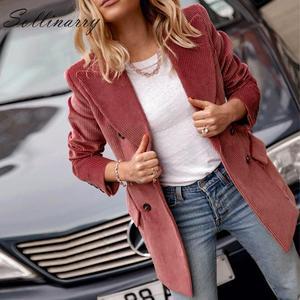 Image 2 - Sollinarry Double boutonnage mode manteaux vestes femmes automne hiver rouge velours côtelé vestes élégant féminin OL mince Outwear rétro