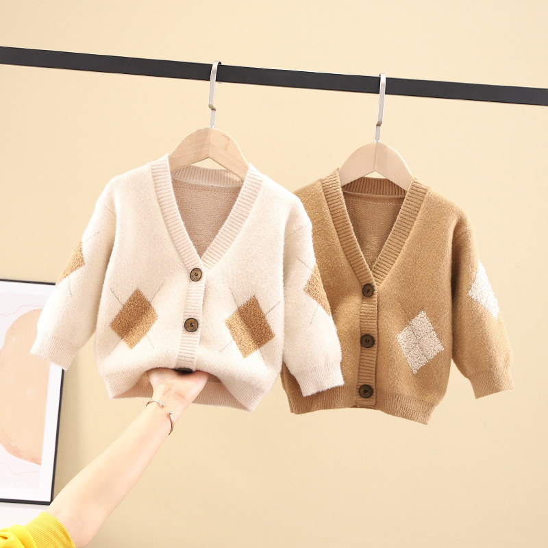 Baby Children Boys Girls Sweater Coat Kids Spring qutumn Clothing Single-breasted Diamond Casual Warm Comfortable outwear 1