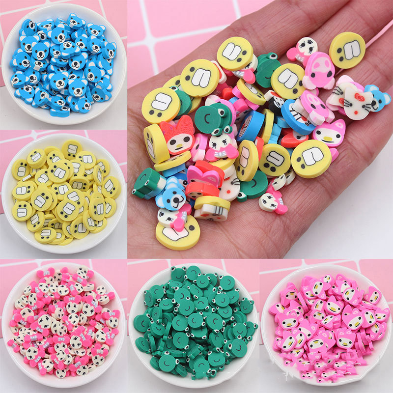100g/lot 1CM Cartoon Animal Slices Fimo Polymer Hot Clay Sprinkles For Crafts Phone Decoration DIY Slime Crystal Mud Filling