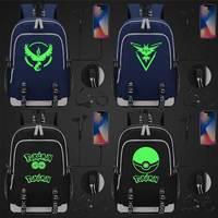 Green Luminous Fashion Cute Cartoon Pokemon Pikachu USB Boy Girl Book School bag Women Teenagers Men Laptop Backpack Packsack