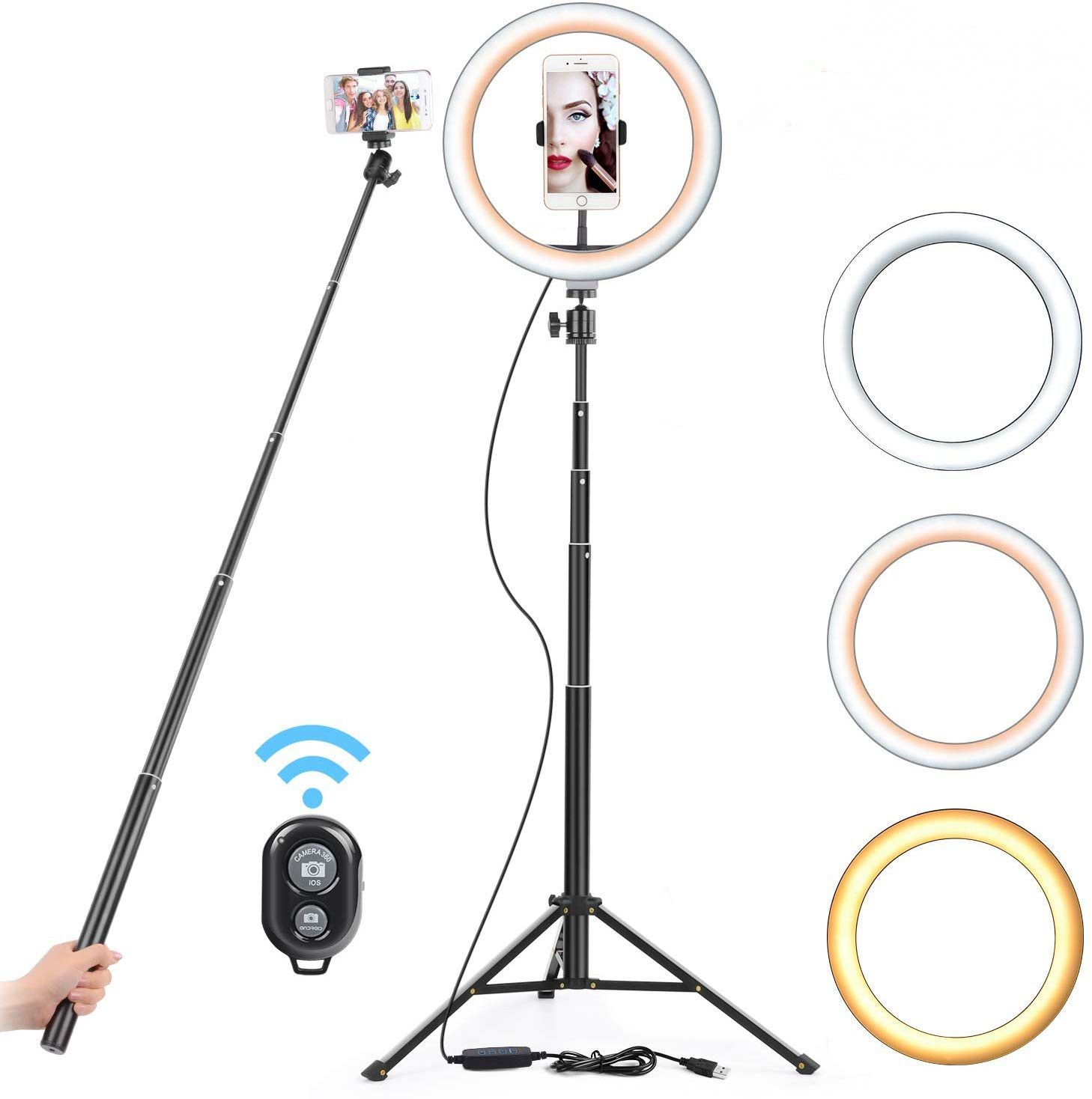 16 26cm USB LED Light Ring Photography Flash Lamp With 130cm Tripod Stand For Makeup Youtube VK Tik Tok Video Dimmable Lighting image