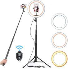 Anneau de lumière LED avec éclairage à intensité réglable pour photographie, lampe avec trépied pour maquillage, accessoire de création de vidéo YouTube, VK et Tik Tok, flash avec support, port USB, 16 26 cm, 130cm