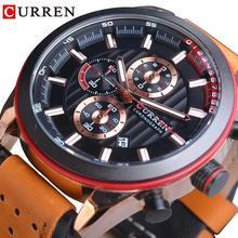 CURREN New Style Men Boy Sport Watches Fashion Military Calendar Waterproof Brown Leather Band Quartz Outdoor Wristwatches Clock