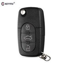 KEYYOU החלפת 3 כפתורים להעיף רכב מפתח Case מעטפת Fob עבור אאודי TT A4 A6 A8 Quattro עם להב CR1620