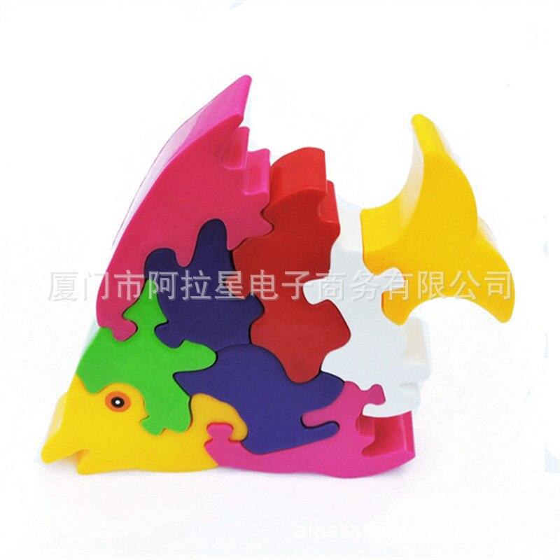 Деревянная рыба пазл строительные блоки Форма познавательные детская знания Цвет обучающая Раннее детство игрушка - 3