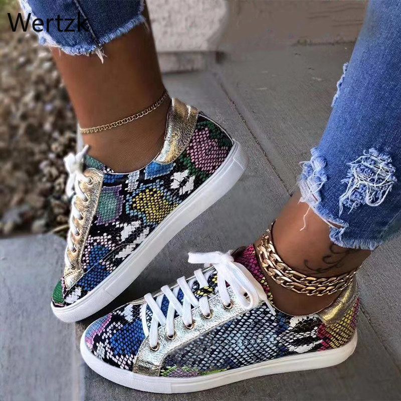 Women Serpentine Prints PU Leather Vulcanized Shoes Lace Up Female Sneakers Fashion Casual Platform Woman Flat Shoes A909