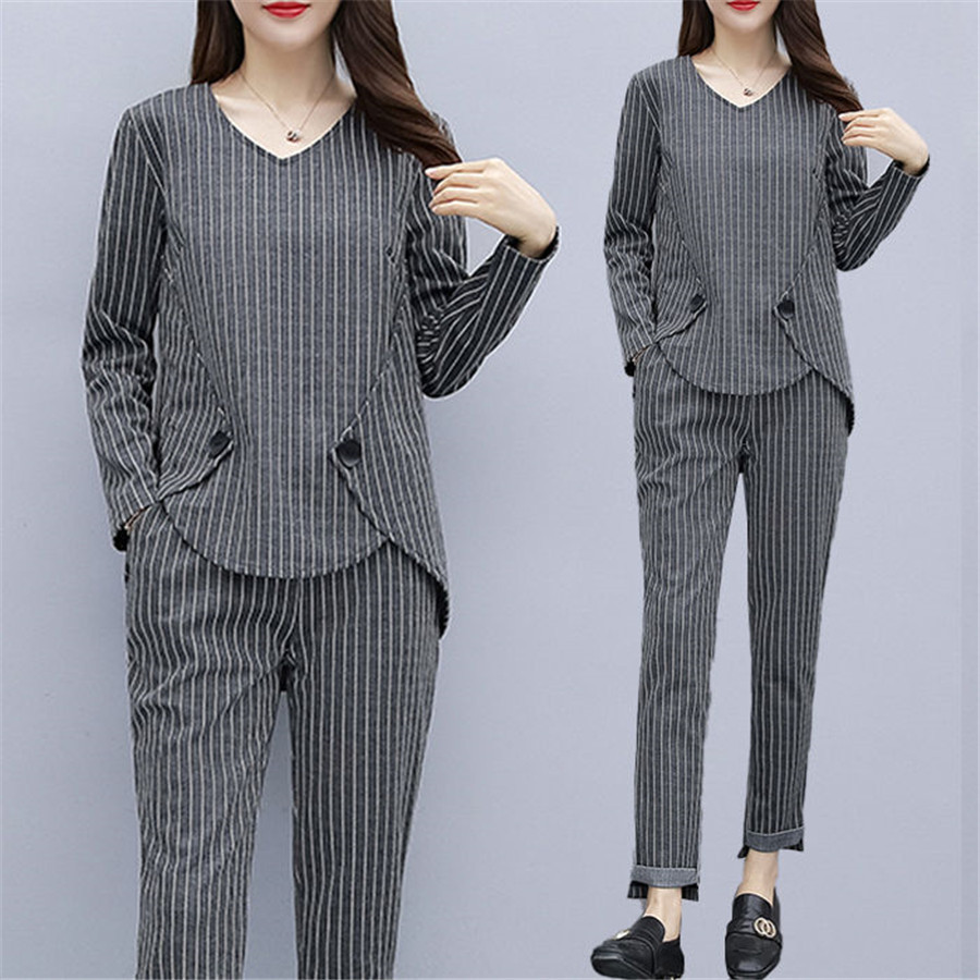 Striped 2 Piece Fall Set Women Plus Size Large L-5xl Outfits Tracksuits Matching Co-ord Winter Clothes 2piece Cotton Linen Gray