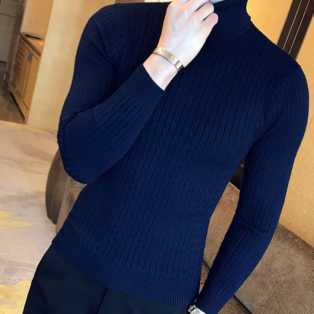 Casual Men Winter Solid Color Turtle Neck Long Sleeve Twist Knitted Slim Sweater Men's Knitted Sweaters Pullover Men Knitwear 2