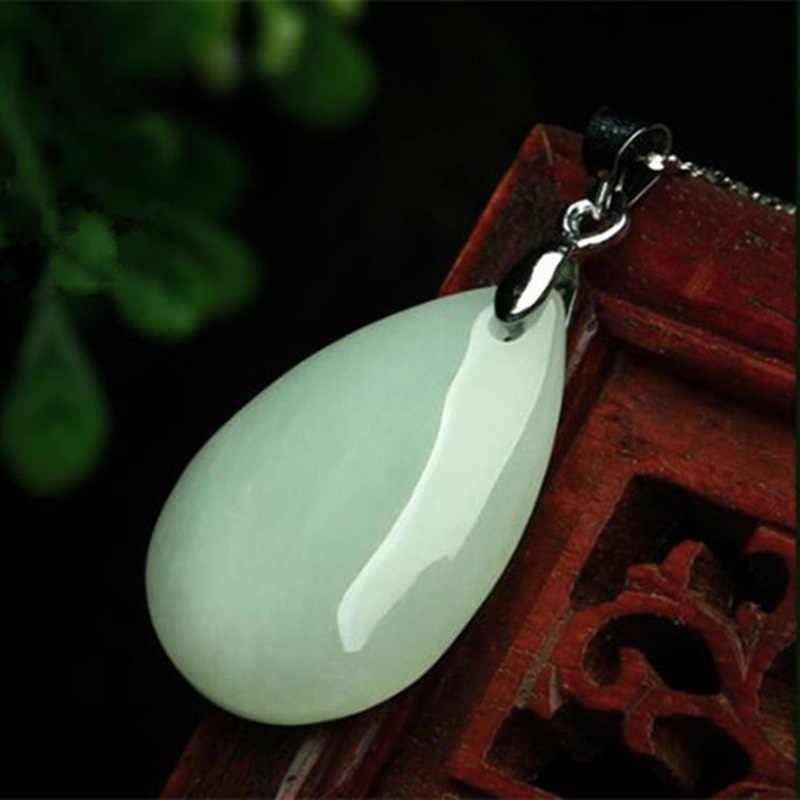 หยกธรรมชาติมรกต Luck Water drop จี้ Charm เครื่องประดับอัญมณีแฟชั่นอุปกรณ์เสริมมือแกะสลัก Man Woman ของขวัญ Amulet
