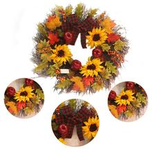 2020 Sunflower Maple Leaf Bowknot Christmas Wreath Home Window Mall Hotel Decoration Pendant
