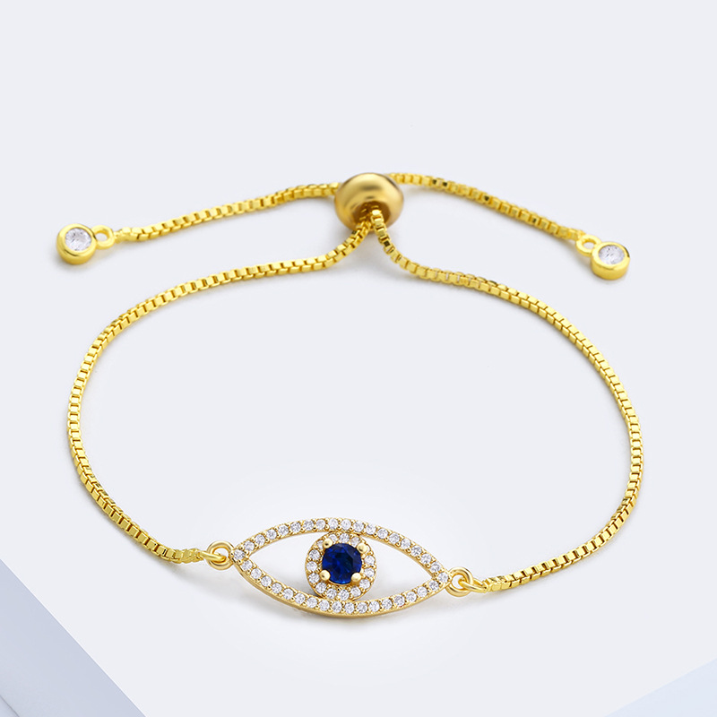 Stretch Hollow Turkish Evil Eye <font><b>Bracelet</b></font> Paved CZ Stone Box Chain <font><b>Adjust</b></font> <font><b>Bracelets</b></font> <font><b>Unisex</b></font> Protetction Jewelry Pulseras Mujer image