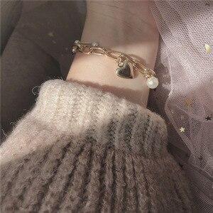 Kpop Retro Gouden Dubbele Ketting Parel Hart Hanger Armband Leuke Egirl Meisje Sweetheart Beste Vriend Bff Dating Esthetische Sieraden(China)