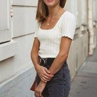 Phantasie Gestrickten Pullover Frauen Elegante Sommer Dünne Kurzarm Platz Backless Chic Shirts 2021 Vintage Streetwear Pullover Ziehen