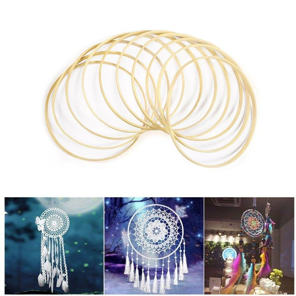 10Pcs 15cm 20cm 23cm 26cm Diameter Dream Catcher Rings Macrame Craft Hoops Round Wooden Bamboo Hanging Accessory Hoop DIY Crafts