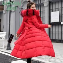 Winter Jacket Women Thick Big Fur collar Hooded Down casual Parkas Maxi Long Female Jacket Coat Slim Warm Winter Outwear стоимость