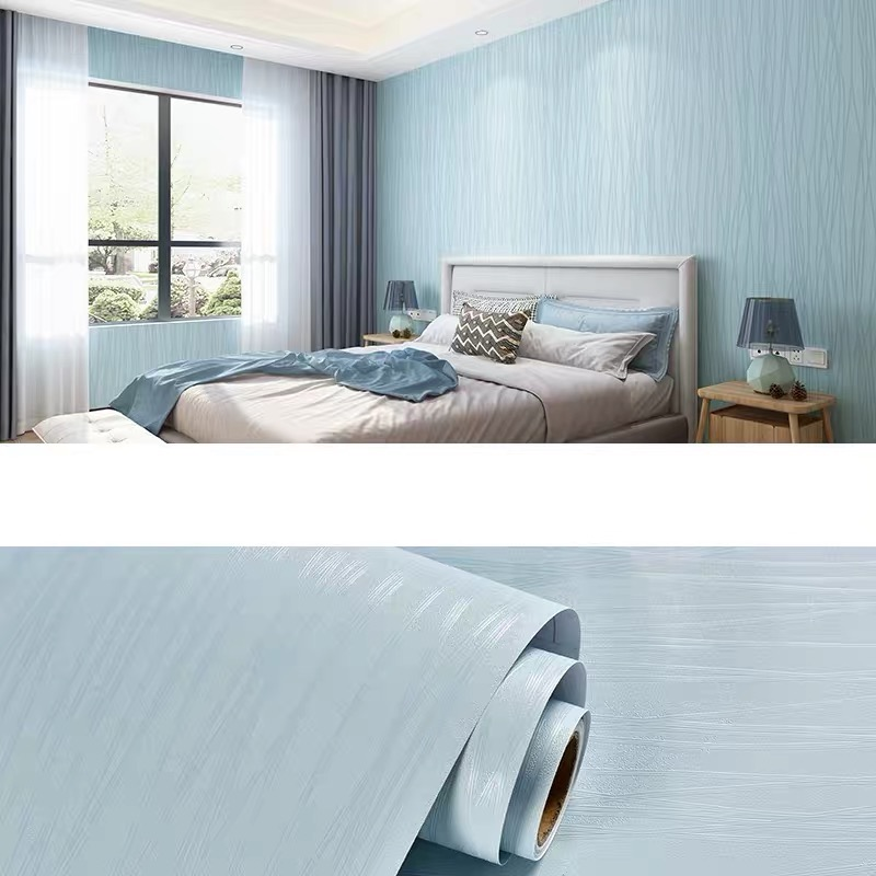 European Plain Modern Minimalist PVC Wallpapers Bedroom Textures Wall Paper Dining Room Hotel Striped Wallpapers Blue Roll