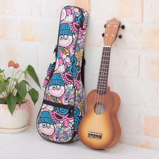 Cartoon Thicken 10MM Soprano Concert Tenor Ukulele Bag Case Backpack 21 23 26 Inch Ukelele Mini Guitar Accessories Parts Gig