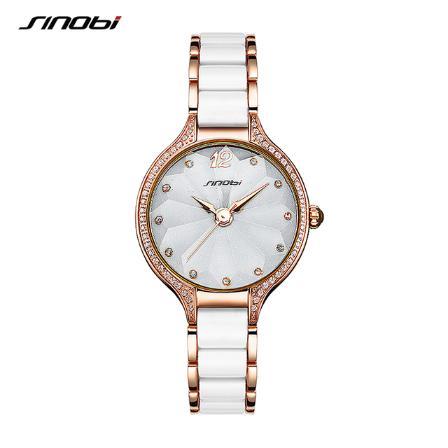 2019 New SINOBI Women Watch Fashion Flower Print Bracelet Watches Women Elegant Ladies Watches Golden Diamond Quartz Wristwatch