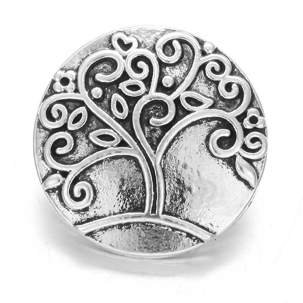 6 unids/lote de nuevos broches de joyería Vintage caballo de árbol de Metal cree 18mm bricolaje botones a presión encantos de cuero pulsera de plata