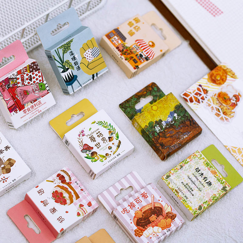 50Pcs/Box Kawaii Food Stationery Stickers Cute Animal Stickers Paper Adhesive Sticker For Kids DIY Scrapbooking Diary Supplies