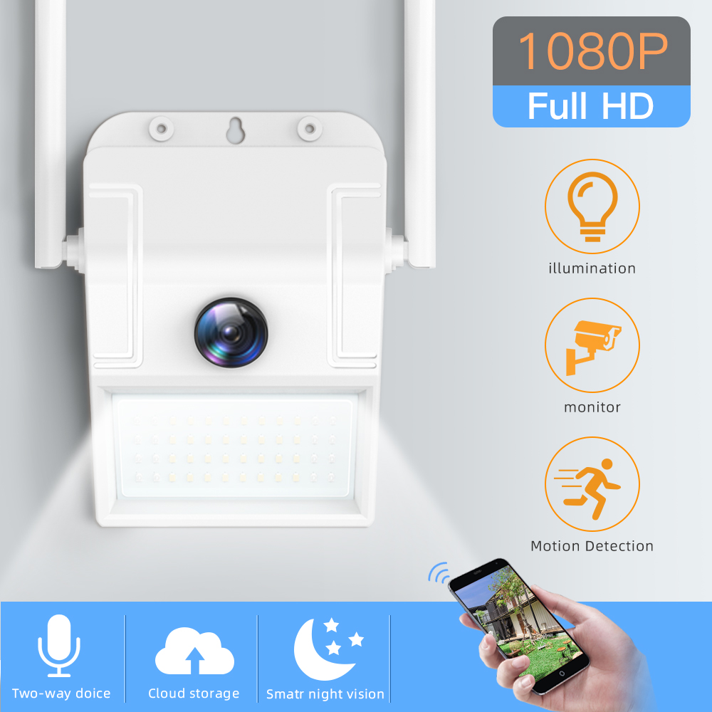 SDETER 1080P Wireless Security Camera WiFi IP Camera Wall Lamp Outdoor Waterproof Floodlight Night Vision CCTV Camera P2P Motion