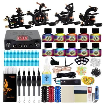 Professional Tattoo Kit 4 Machines Guns Set Design Pigment Inks Set LCD Power Needles Set Body Art Permanent Complete Tattoo Set 2 tattoo machine guns power supply pigment inks sets body art permanent makeup professional tattoo set