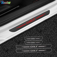 4 pçs/lote nova fibra de carbono porta do carro soleiras protetor adesivos para volkswagen vw golf 1 2 3 4 5 6 7 7.5