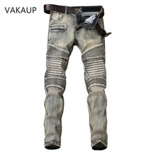 2020 Fashion Hip Hop Patch Men Retro Jeans Knee Rap Hole Zipped Biker Jeans Men Loose Slim Destroyed Torn Ripped Denim Man Jeans patch design zip embellished biker jeans
