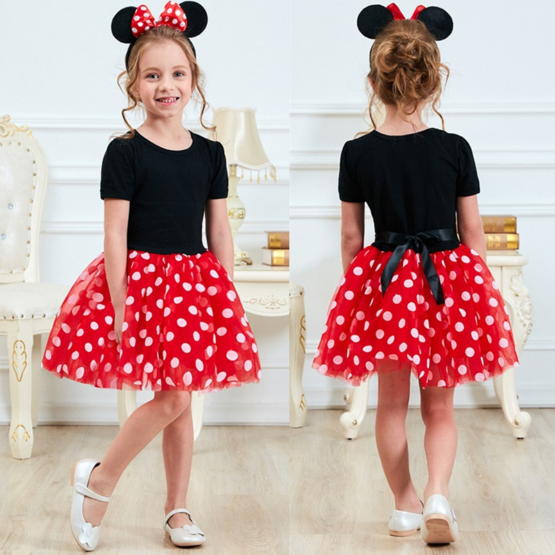 Fancy Kids Dresses For Girls First Birthday Outfits Mini Cartoon Mouse Dress Up Costume Baby Girls Children's Wear 1 To 5 Years