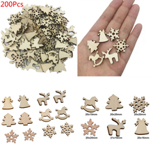 200Pcs Christmas Decorations For Home Natural Wooden Pendant DIY Tree Snowflake Deer New Year Decor