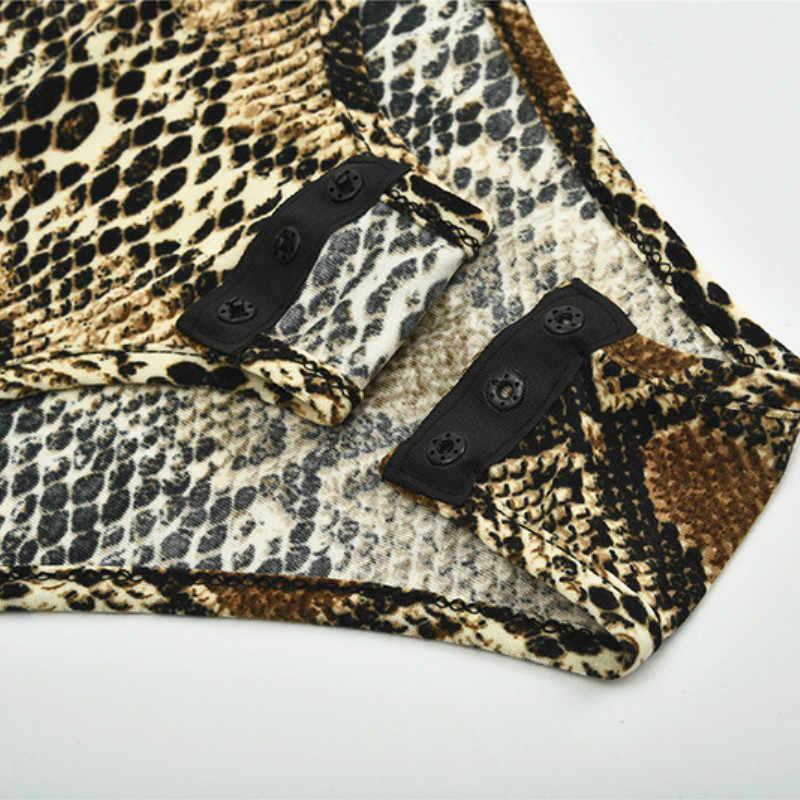 Sexy otoño ceñido al cuerpo de leopardo serpiente para mujer cuerpo delgado cuello alto manga larga estampado peleles clubwear fiesta GV058