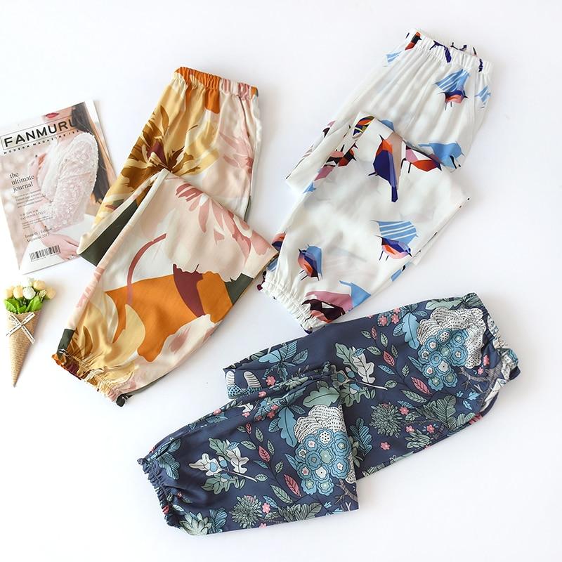 Pijama de Verão com Cintura Comprimento do Tornozelo Roupa de Dormir para Mulheres para Relaxar Calça Viscose Feminina Elástica
