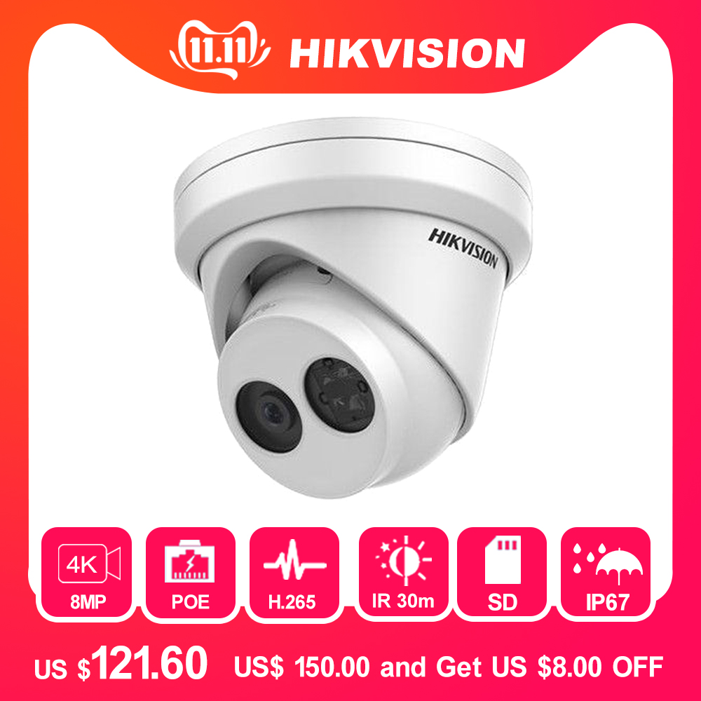 Hikvision 8MP IP Camera POE Outdoor Video Surveillance 4K Cameras DS-2CD2385FWD-I With 30m IR Built-in SD Card Slot & H.265