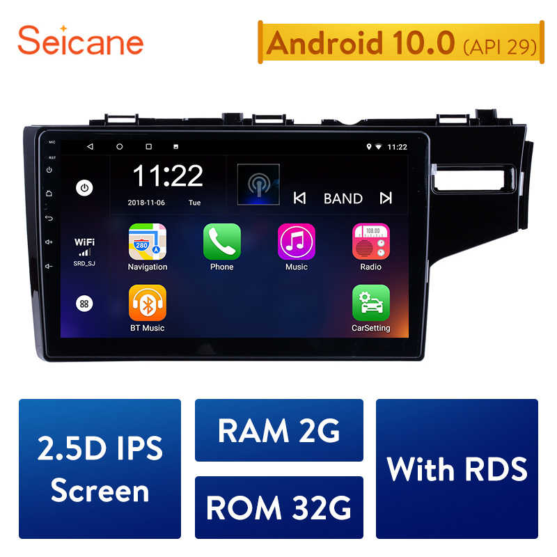 Seicane 10.1 Inci HD Quad-Core 2din Android 10.0 Car Radio GPS Navigasi Sistem Multimedia Player untuk 2014 2015 honda Jazz/Fit