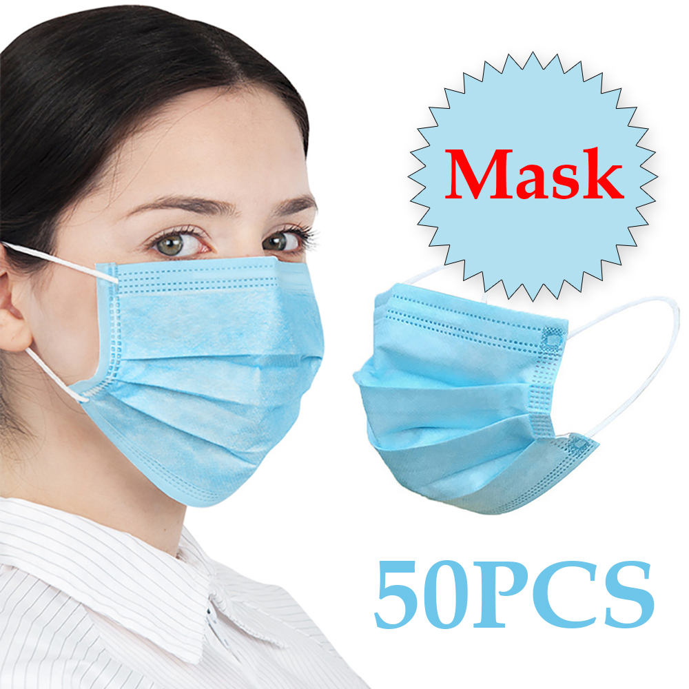 20/50Pcs Three-layer Protection Non Woven Dust Face Mouth Masks Disposable Anti-Dust Earhook Mask Flu