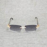 Vintage Rhinestone Black White Buffalo Horn Rimless Sunglasses Men Wood Sun Glasses Metal Frame Shades for Summer Club Eyewear