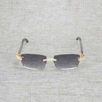 Vintage diamantes de imitación negro blanco búfalo cuerno gafas de sol sin montura hombres gafas de sol de madera gafas de sol con montura metálica para verano gafas de sol para club