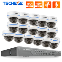 Techege 16CH POE Security Camera System CCTV NVR Kit Outdoor Indoor 2MP Vandalproo Dome IP Camera Video Surveillance System Set