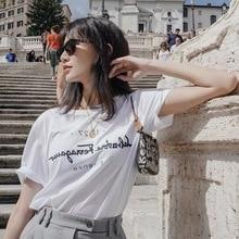 Cotton T-Shirt Short-Sleeve Korean-Style Black White Fashion Women Tops Letter Print