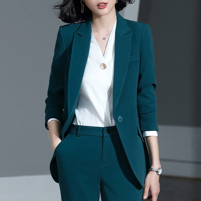Women's Suits Autumn And Winter New Single Buckle Fashion Professional Decoration Body Slim Trousers Women's Two-piece Suit