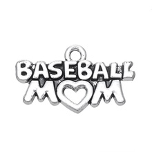 10pcs Hand Stamped Alloy Baseball/ Football/ Sports MOM Super Mom Charm DIY Jewelry Accessories