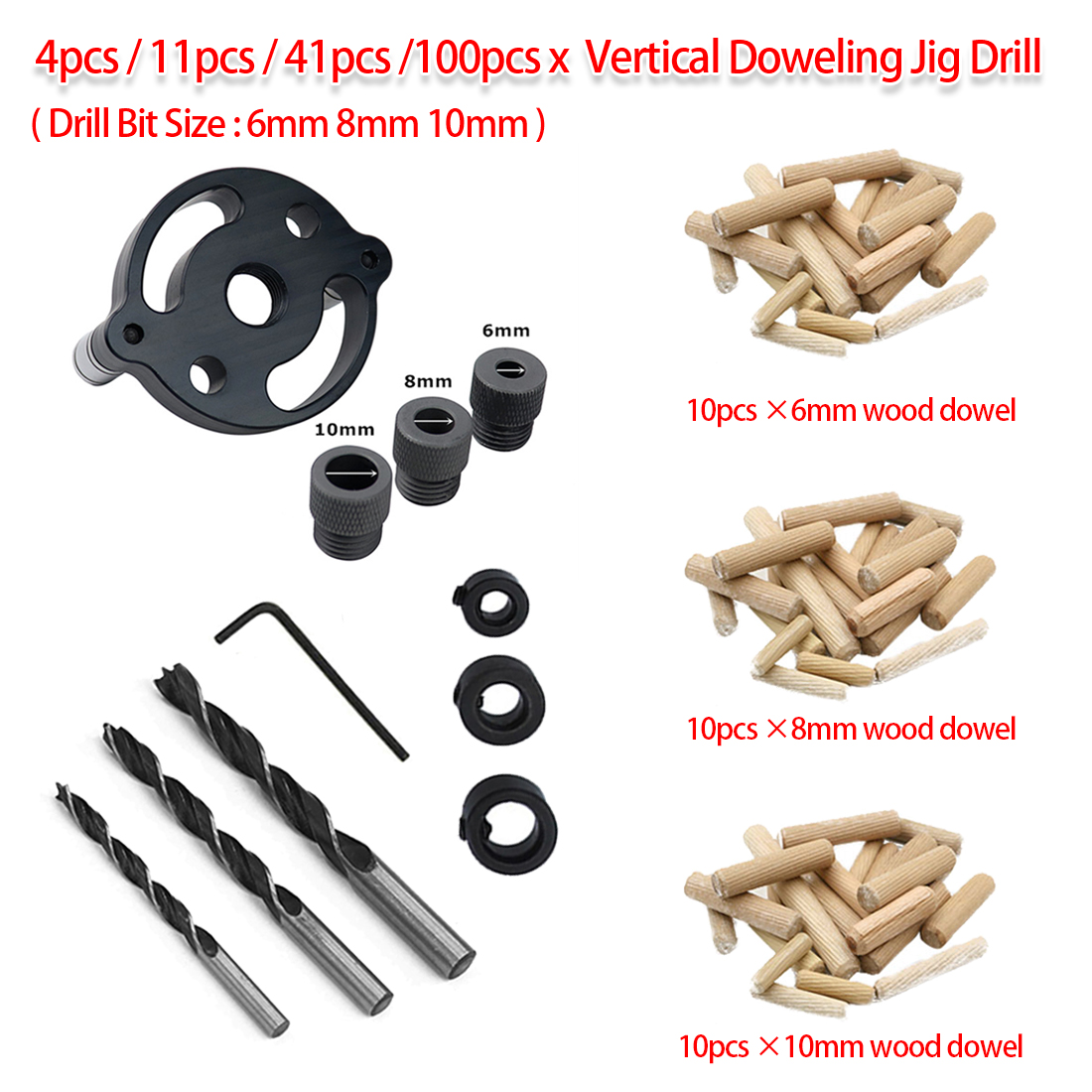 Doweling Jig 4pcs/11pcs/41pcs/100pcs Pocket Hole Tool Wood Vertical Drilling Detachable Locator For Hole Puncher Carpentry Tool