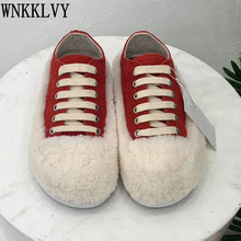 Loafers Shoes Lace-Up Round-Toe Flat-Fur Comfort Female Women Thick Wool Sole Casual