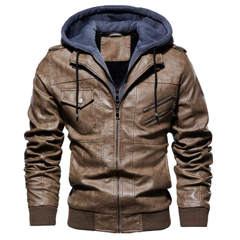 Image 4 - New autumn winter men's leather motorcycle jacket PU hooded jacket warm PU baseball jacket Large size M 4XL-in Faux Leather Coats from Men's Clothing