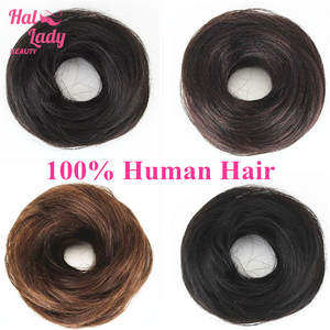 Bun-Extensions Hairpiece Beauty 100%Human-Hair Wig Halo Straight Donut Chignons Curly